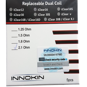 Innokin iClear 16 Dual Coil Clearomizers Pack of 5